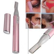 New Pink Practical Electric Face Eyebrow Scissors Hair Trimmer Mini Portable Women Body Shaver Remover Blade Razor Epilator
