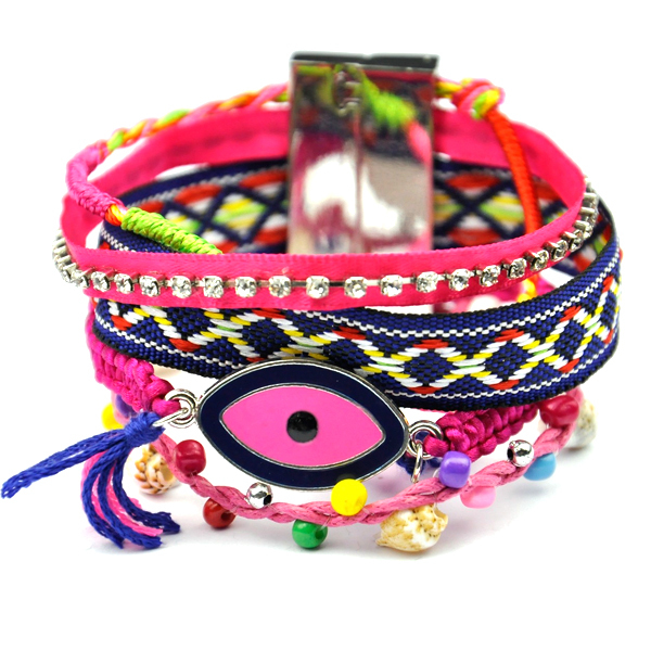 Evil Eye Handmade Brazilian Bracelet Ipanema Bijoux Weave Multi Wrap Friendship Boho