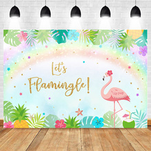 цена на Mehofoto Flamingo Photo Background for Photography Birthday Party Backdrop Rainbow Leaves Backgrounds for Photo Studio Photocall