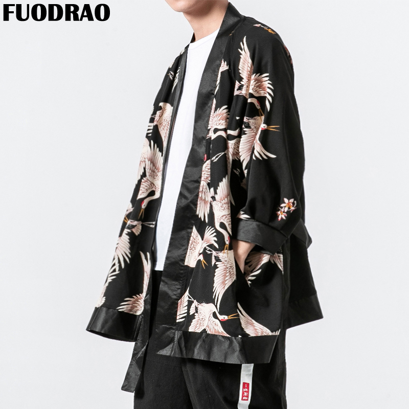 Qualified Fuodrao Original Brand Chinese Style Crane Print Jacket Coats Summer Thin Open Stitch Harajuku Streetwear Outwear 5xl J109 Home