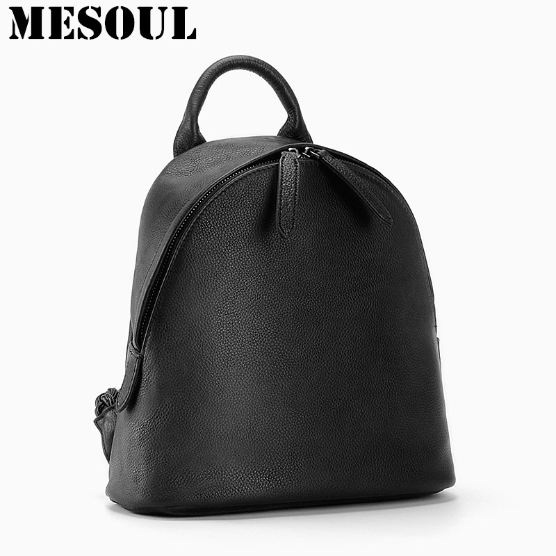 MESOUL Backpack Women Bag Natural Soft Genuine Leather Backpacks European Style Fashion Simple Daily Woman Backpack School Bags fashion backpack women backpack black genuine leather school bag woman casual style