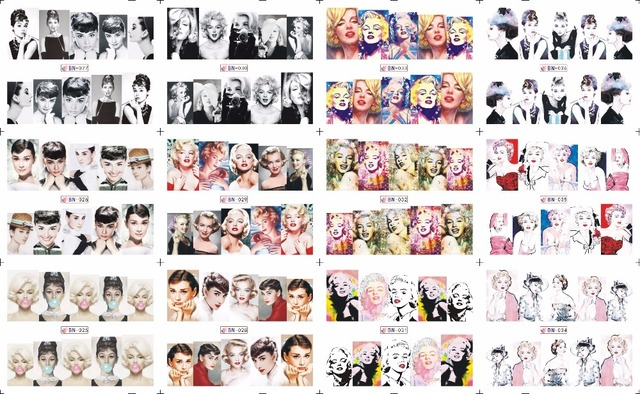 SALE ! 1Lot=100sheets .12 in one sheet New Style Nail Art Water Sticker Marilyn Monroe and Audrey Hepburn in 2016 for  BN025-036
