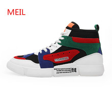 цена New Fashion High Top Sneakers Men Casual Shoes Sneaker Male Shoes Lace-up Trainers Zapatos Hombre Zapatillas Tenis Chaussure онлайн в 2017 году