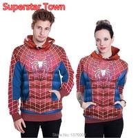 Unisex 3D Spider Man Hoodies Pullover DC Comic Hero Hooded Sweatshirts Casual Women Hoodie