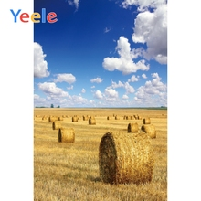 Yeele Farm Hay Bale Blue Sky White Cloud Scene Baby Portrait Photographic Background Vinyl Photography Backdrop For Photo Studio