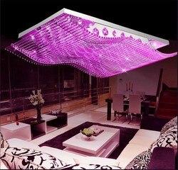 Nowoczesne proste atmosferyczne kolor ściemniania lampy kryształowe salon prostokątna LED kryształ lampa