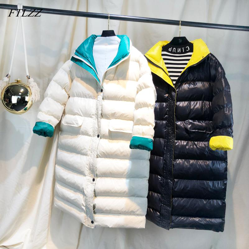 FTLZZ Winter Long Coat Women Ultra Light White Duck Down Jacket Female Slim Puffer Jacket Windproof Down Coat