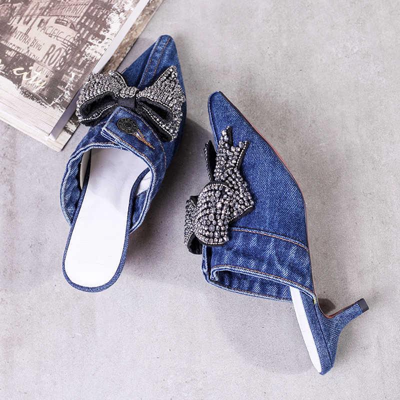 حذاء جينز نسائي بمقدمة مدببة ومرصع بأحجار الراين والكريستال من Stlilettos حذاء مفتوح بكعب عالٍ جديد موديل رقم A78