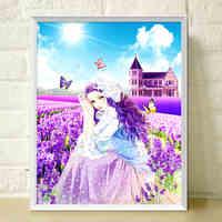 5D Diamond Painting Beautiful Girl Diamond Mosaic Resin Home Decor Diamond Embroidery Cross Stitch Fantastic Lavender