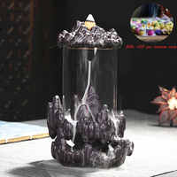 Add 50 pcs incense cones New Style Buddha Backflow Incense Burner Glass Cover Indoor Windproof Personality E $