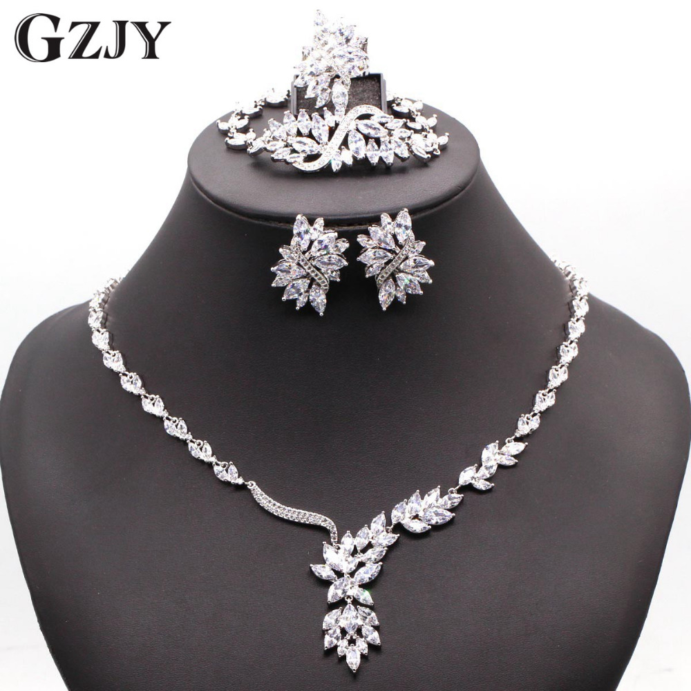 GZJY Gorgeous Wedding Jewelry Sets Zircon Necklace Ring Bracelet Earring White Gold Color For Women Wedding