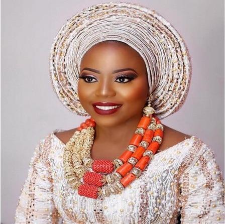 Collier De Mariage De corail Ensemble de Bijoux Nigérian Mariées Fantastique D'origine Perles De Corail Femmes Ensemble de Bijoux Chunky Déclaration Audacieuse ABH819