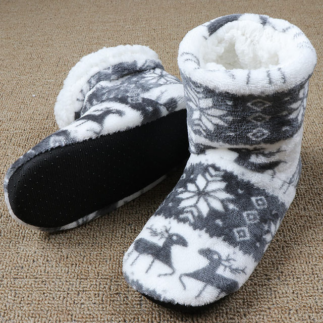 f23629f2c58 Winter Furry Slides Pantoffels Dames Women House Slippers Fluffy Slippers  Fur Warm Christmas Socks Shoes Funny