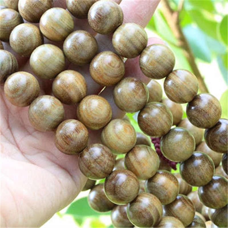BRO625 Natural Sandalwood 12mm Beads Necklace Buddhist 108 Green Sandal Prayer Malas Rosary