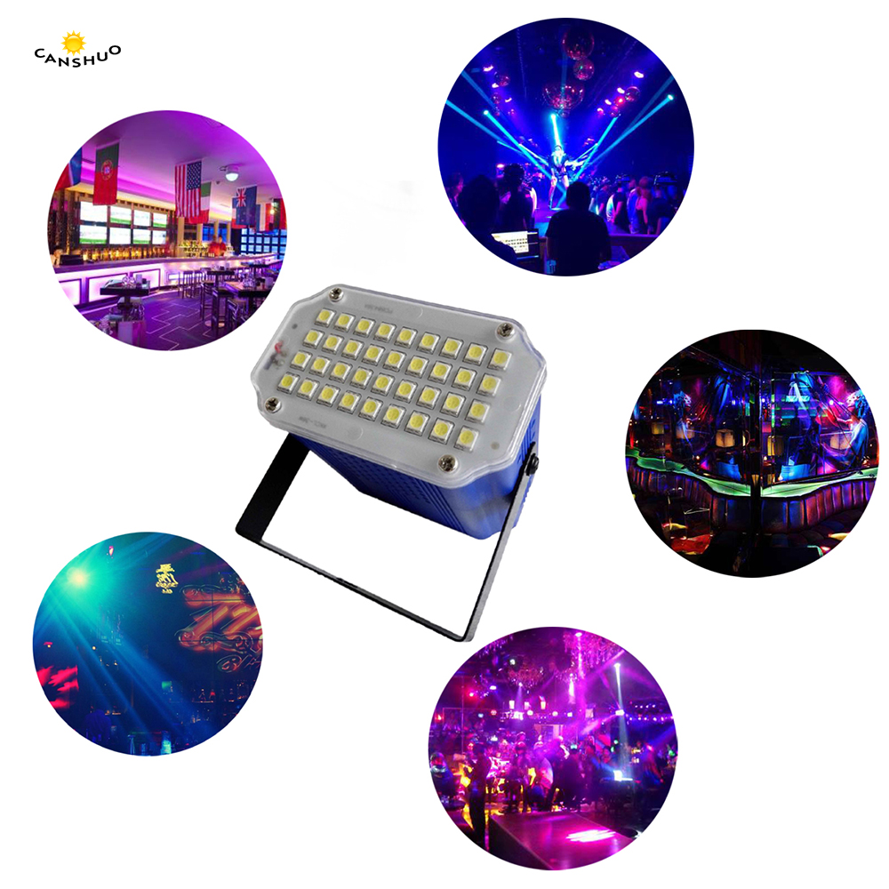 36 LED DJ Disco Sound Activated Laser Projector Strobe Flash Lumiere RGB Stage Lighting Effect Lamp Music Party Light AC85-265V pink colors 70 16cm flash car sticker music rhythm led el sheet light lamp sound music activated equalizer