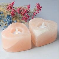 Large Himalayan Salt Candle Holder Heart Shape Set Of 2 By JIC Gem