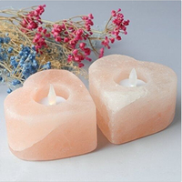 Large Himalayan Salt Candle Holder Heart Shape Set Of 2 By JIC Gem