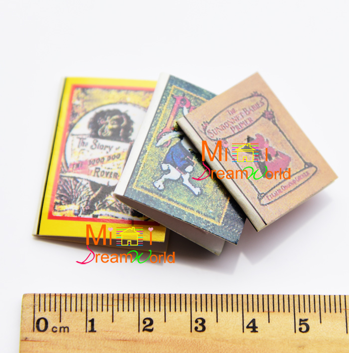 G05-X4430 children baby gift Toy 1:12 Dollhouse mini Furniture Miniature rement-mini story books 3pcs/set