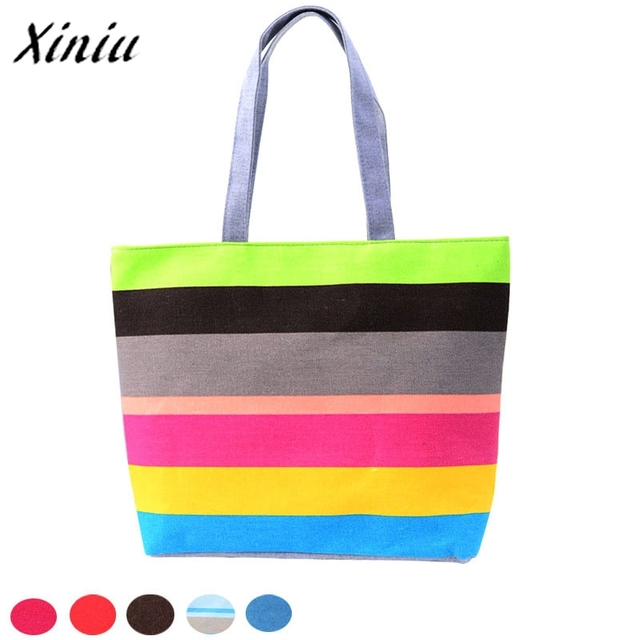5463849df43e 2017 Hot Sale Fashion Women Casual Tote Big Space Shopping Bags Color Striped  Handbag Shoulder Canvas