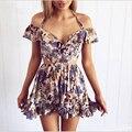 BerryGo Hollow out beach party dresses Halter off shoulder summer dress women Floral print high waist sexy dress vestidos S3482