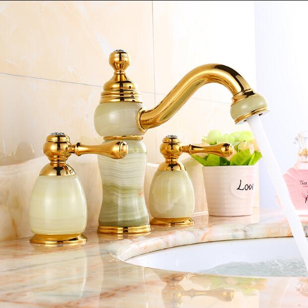 New arrivals fashion luxury basin faucet brass and Jade gold plating widespread sink faucet Deck Mounted water tap New arrivals fashion luxury basin faucet brass and Jade gold plating widespread sink faucet Deck Mounted water tap