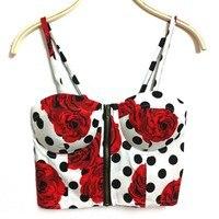New Summer Women Girls Sweet Floral Bustier Padded Zipper Crop Tank Tops Sexy Blouses A1