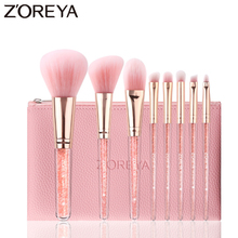 ZOREYA Essential Makeup Brush Blush Eye Brow Eye Shadow Blending Brushes For Daily Use Soft Synthetic Hair Crystal Cosmetic Tool urban decay essential eye tool brush