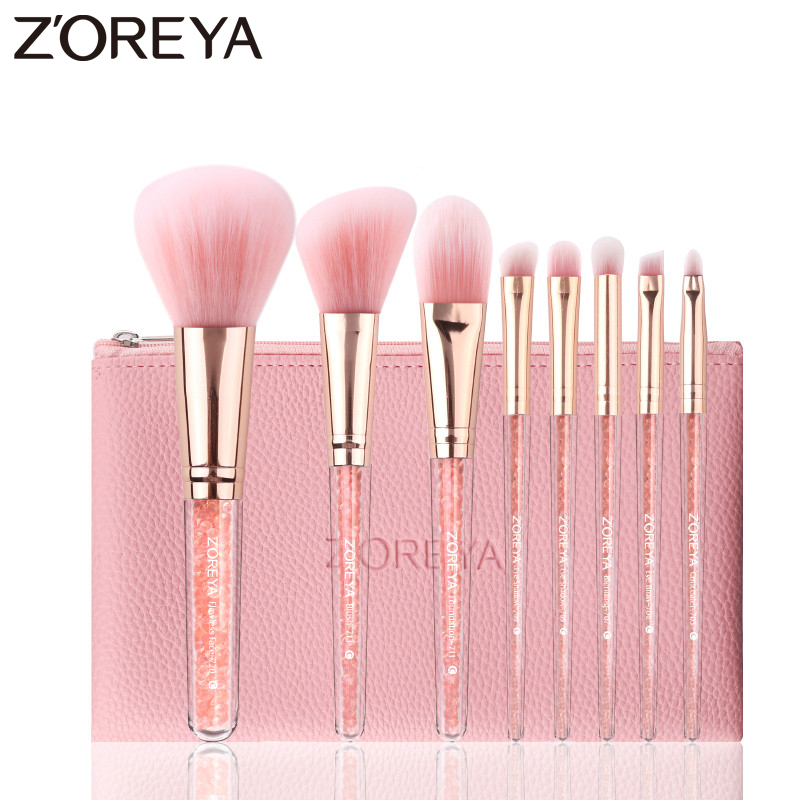 ZOREYA Essential Makeup Brush Blush Eye Brow Eye Shadow Blending Brushes For Daily Use Soft Synthetic Hair Crystal Cosmetic Tool