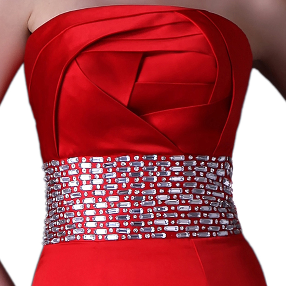 red mermaid trumpet strapless prom dress