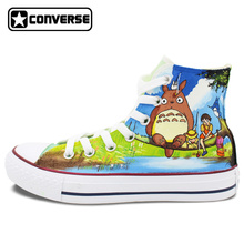 Hand Painted Shoes Men Women Converse All Star Totoro Miyazaki Hayao Design Custom High Top Canvas Sneakers Cosplay Gifts