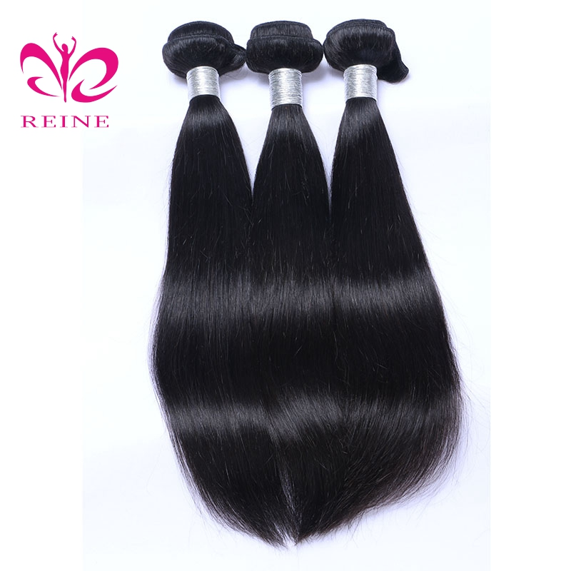 REINE Hair Straight Brazilian Hair Weave Bundles 10-30 inch Natural Color Human Hair Bundle Deals 100% Hair Extensions none remy