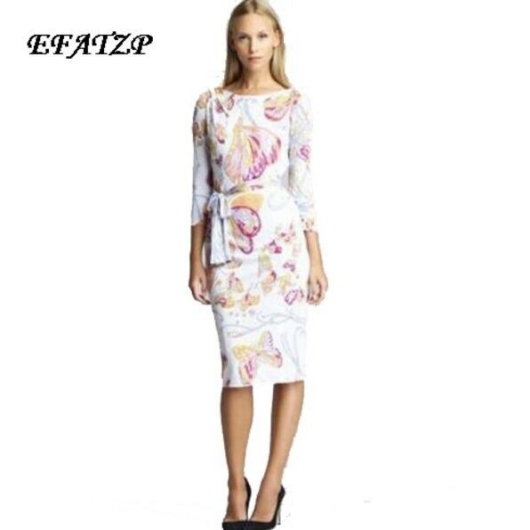 New Fashion 2017 Designer Brand Dress Women s 3 4 Sleeves Elegant Cute butterfly Print Stretch