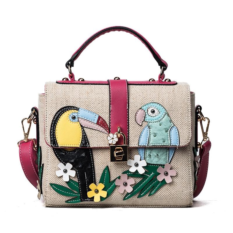 2017 new summer fashion handbags and color mosaic canvas bag flower Small Shoulder Bag Messenger Bag shoulder bag
