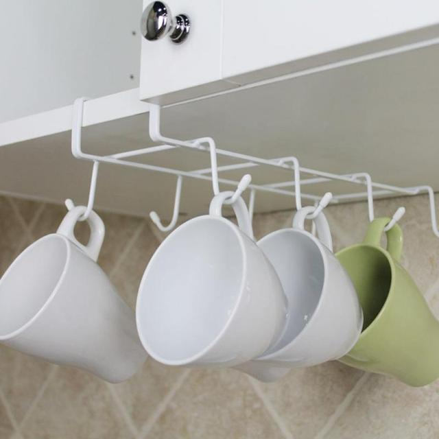 8 Hooks Cup Hanging Holder Under Cupboard Shelf Coffee Cup Hooks Cabinet  Glass Mug Drinkware Organizer