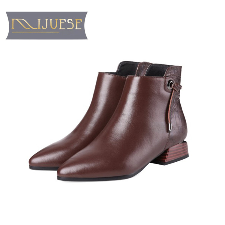 MLJUESE 2019 women ankle boots cow leather zippers Geometric low heel boots winter short plush ankle