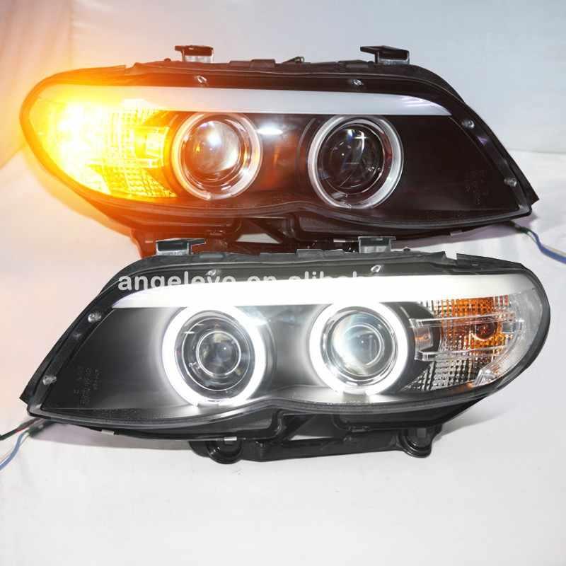 2004-2006 سنة led رئيس مصباح عيون الملاك ccfl الأمامية لسيارات bmw e53 x5 الجبهة مصباح sn