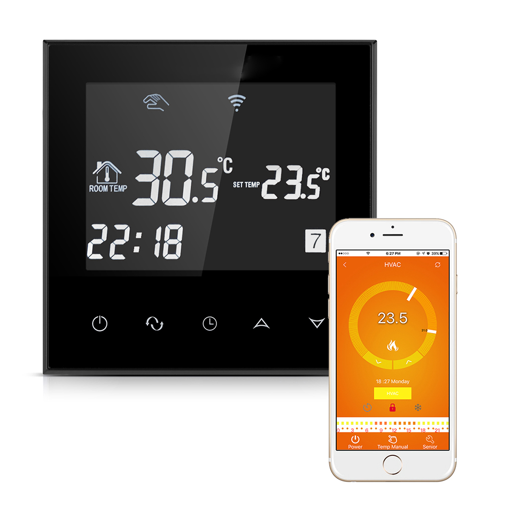 AC200~240V Smart Wifi Thermostat Energy Saving Thermostat Programmable Temperature Controller LCD Display Touchscreen Thermostat ac 250v 20a normal close 60c temperature control switch bimetal thermostat