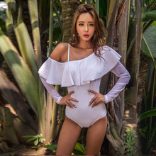 Купить с кэшбэком High Quality 2019 New Sexy Long sleeve Sunscreen Ruffle One Piece Swimsuit Push Up Large size Swimwear Women Bathing Suits