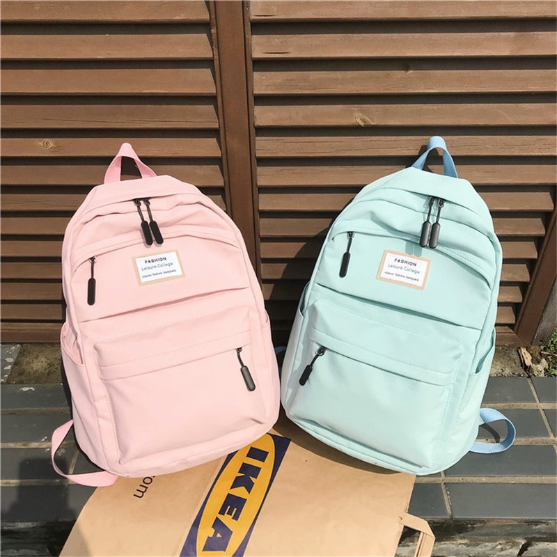 Solid Pink Backpack Brand High Quality Unisex Leisure Or Travel Bag Large Capacity Fresh School Bag For Teenage Girls Overnight