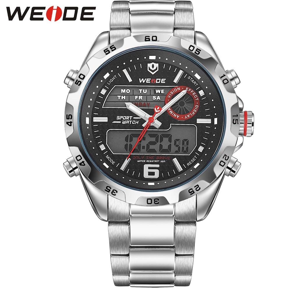 ФОТО WEIDE Luxury Brand Business Men Watches Stainless Steel Band Waterproof Analog Digital Dual Display Back Light Hot Sale