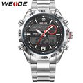 WEIDE Luxury Brand Business Men Watches Stainless Steel Band Waterproof Analog Digital Dual Display Back Light Hot Sale