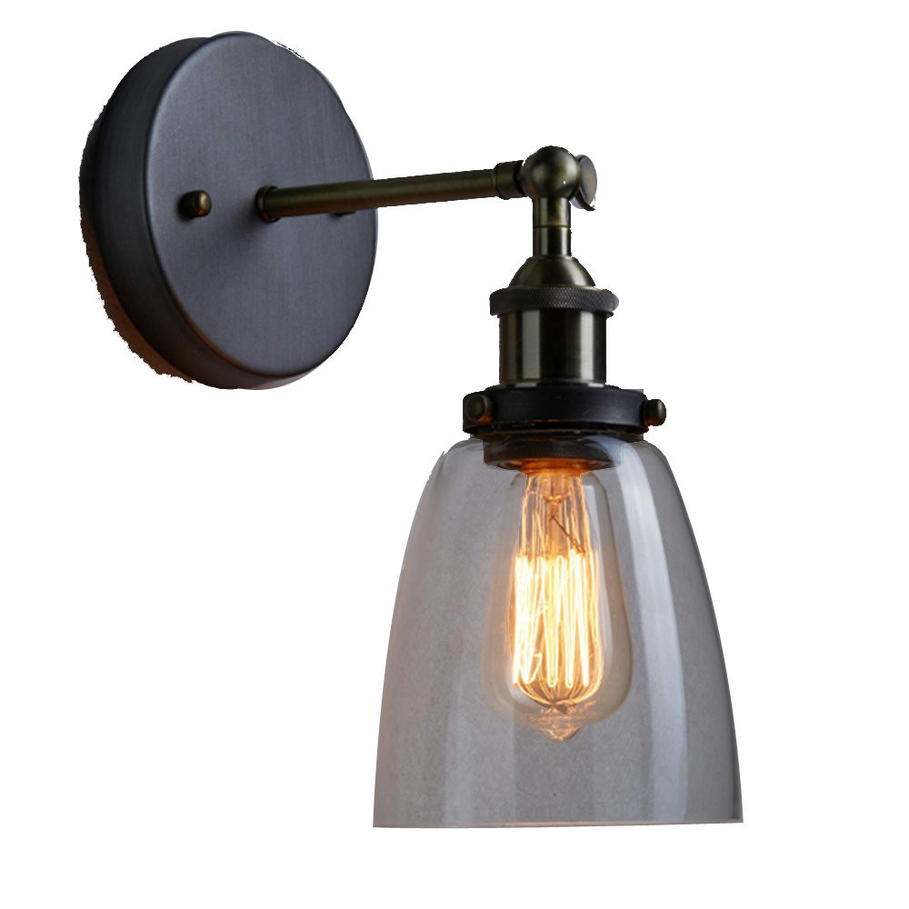 MAMEI Free Shipping Industrial Edison Old Fashion Simplicity Glass Wall Sconce Metal Base Cap