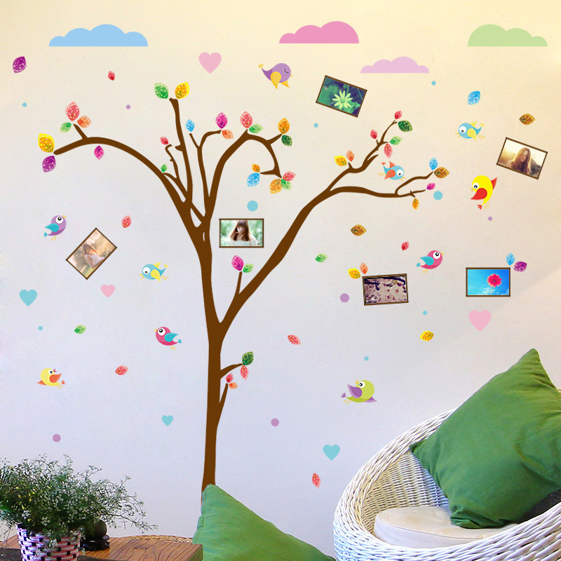 quality super colorful picture frame tree wall stickers women kids home  living room party decor cartoon plants pvc wall mural-in Wall Stickers from  Home ... 71a67856f