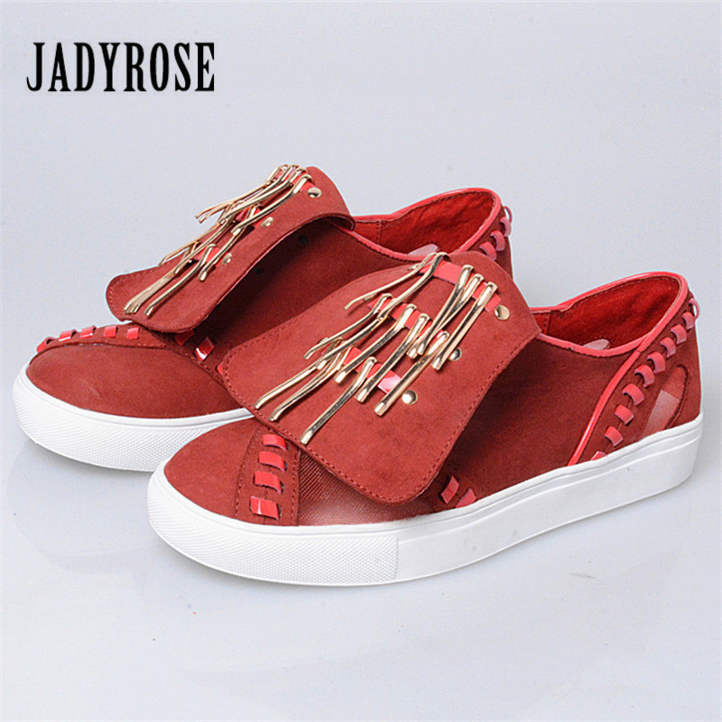 Jady Rose 2018 New Women Casual Shoes Suede Metal Decor Flats Canvas Shoes Slip On Tenis Feminino Comfortable Loafers Creepers siketu sweet bowknot flat shoes soft bottom casual shallow mouth purple pink suede flats slip on loafers for women size 35 40