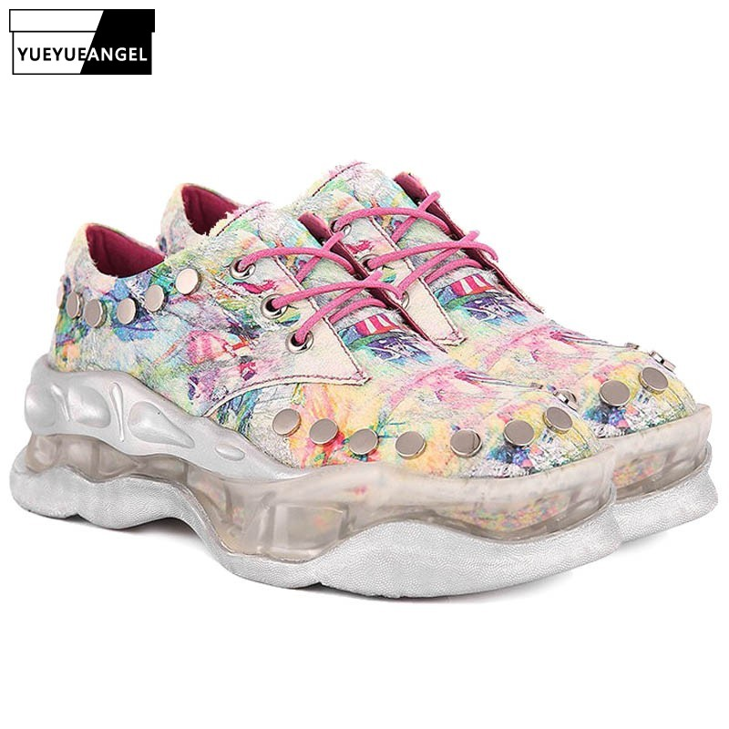 Style Graffiti Platform Sneakers Girl Autumn Winter Road Lace Up Informal Wedges Sneakers Excessive High quality Leather-based Hip Hop Footwear Ladies's Pumps, Low-cost Ladies's Pumps, Style Graffiti Platform Sneakers...
