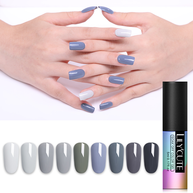 LILYCUTE Grey Color Nail Gel Polish 90 Colors Soak off UV LED Lacquer Vernis Art Long Lasting 5ml