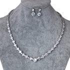 WEIMANJINGDIAN Brand Round Shape Cubic Zirconia Crystal Necklace Earrings Wedding Bridal CZ Zircon Jewelry Sets