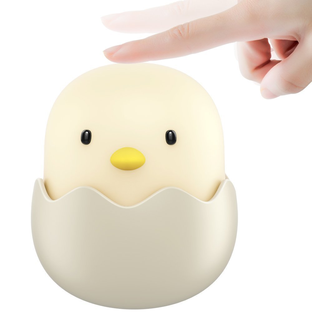 Cute Silicone Egg Shell Night Lamp Rechargeable Adjustable Brightness Touch Control Children Baby Kids Nursery LED Night Lights
