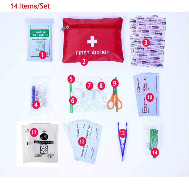 New 14 Items/Set Portable Outdoor Waterproof First Aid Kit For Family Or Travel Emergency Medical Treatment Camp Home