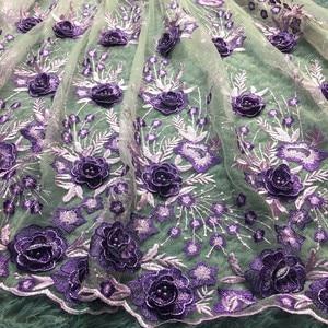 Image 2 - האחרון אפריקאי תחרת בד רקום 3d פרח תחרה ניגרית בדי באיכות גבוהה יפה צרפתית בד תחרה עבור שמלת LM284